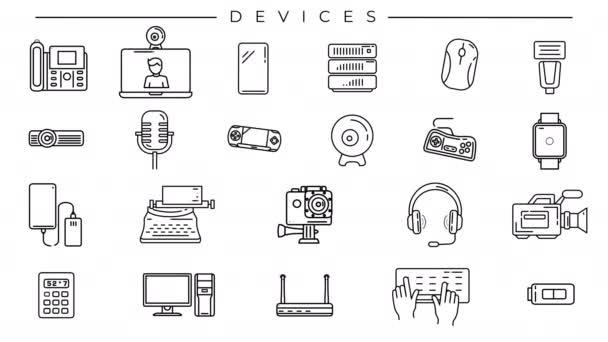 Ikony čar zařízení na alfa kanálu.