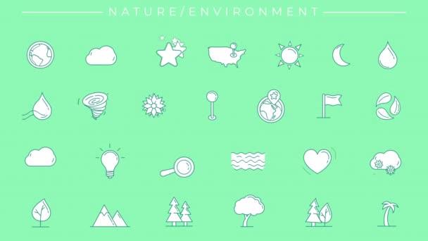 Animované vyplněné zelené ikony na téma Příroda a životní prostředí.
