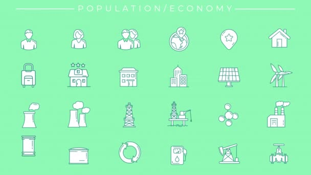 Animated filled green icons on Population and Economy theme.