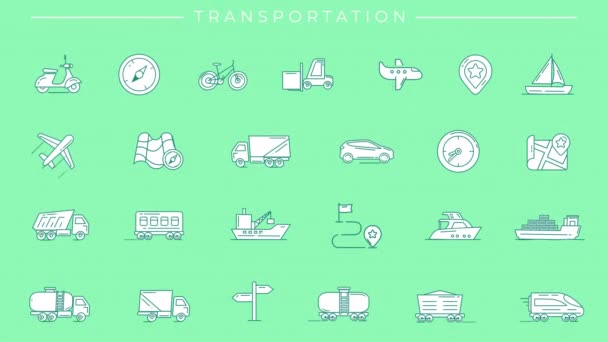 Animated filled green icons on Transportation theme.