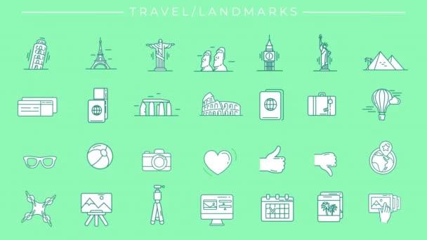 Animované vyplněné zelené ikony na téma Cestování a památky.