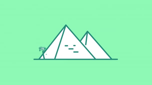 Egyptian Pyramids line icon on the Alpha Channel