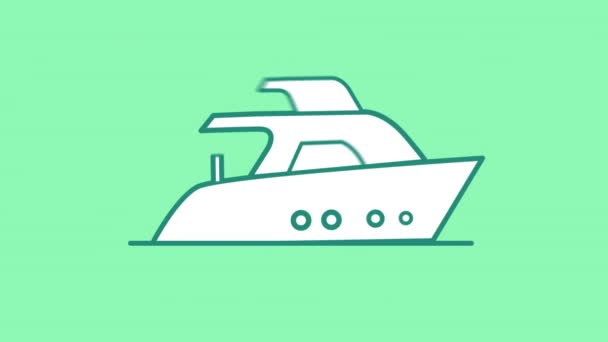 Motorboat line icon on the Alpha Channel
