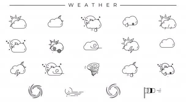 Set schwarzer Linien-Symbole zum Thema Wetter.