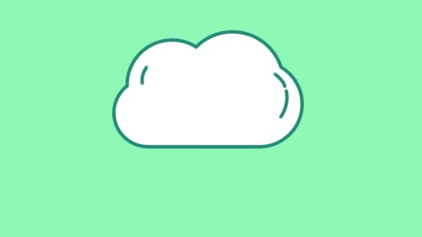 Cloud and Drops line icon on the Alpha Channel