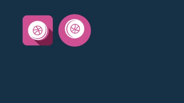 Flat Style Animated Social Icons. Dribbble and Blogger