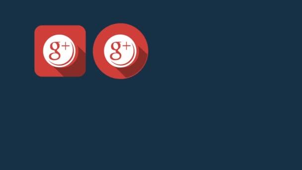 Ploché styl animovaný sociální ikony. Google a Instagram