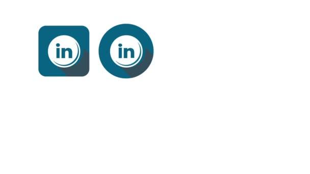 Ploché styl animovaný sociální ikony. Skype a linkedin