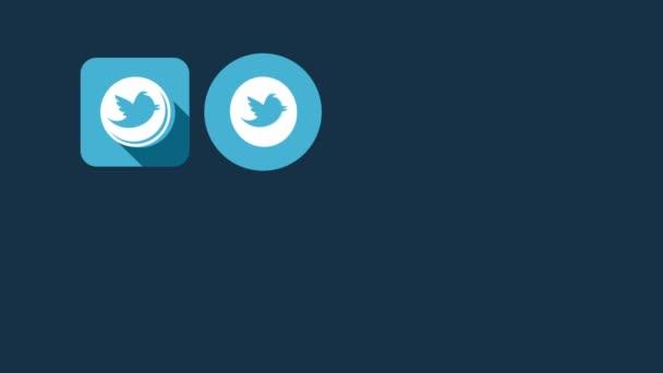 Ploché styl animovaný sociální ikony. Twitter a Facebook