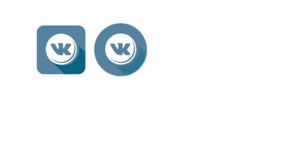 Ploché styl animovaný sociální ikony. Odnoklassniki a Vkontakte