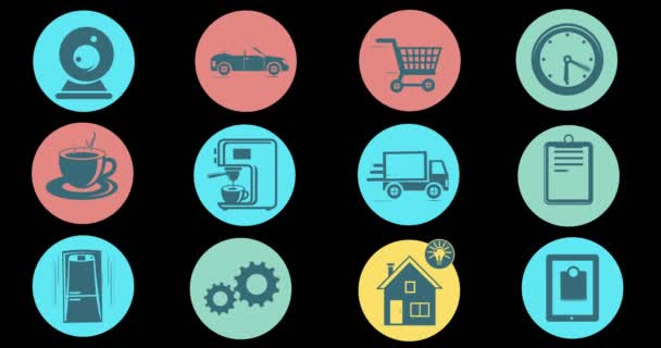 Internet der Dinge und Smart Home Konzept. Flat Style animierte Symbole