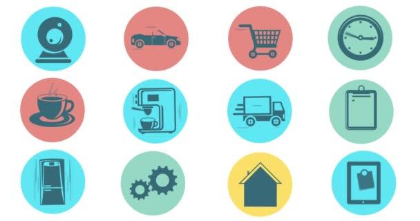 Internet věcí a konceptu Smart domů. Ploché styl animované ikony