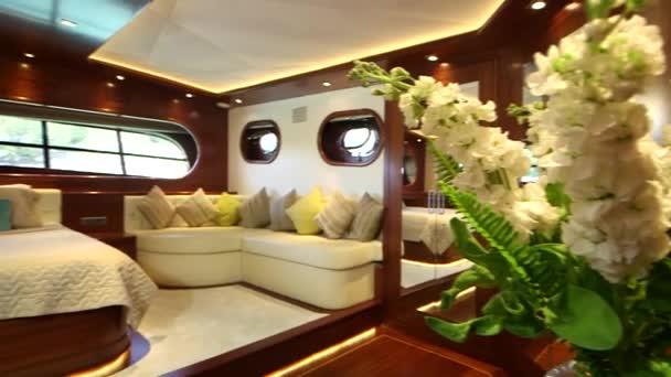 Interior of bedroom in Yacht