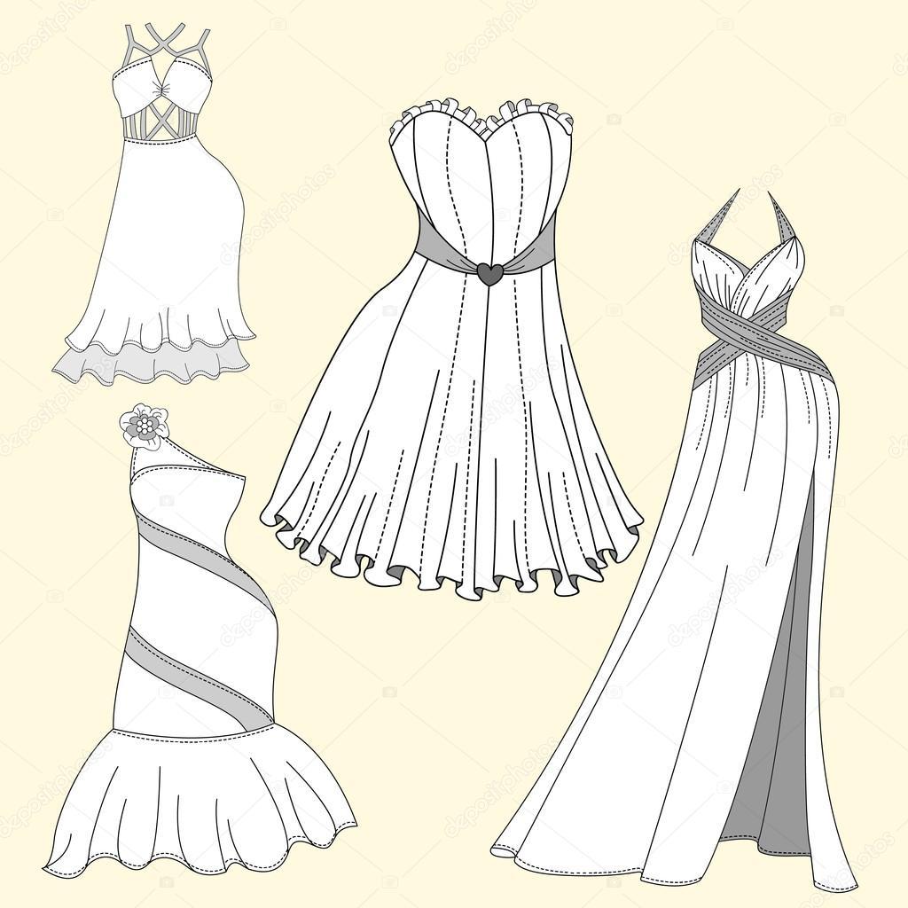 Design Avondjurken.Kleding Design Vrouwen Avondjurken Stockvector C Klowreed 107832134
