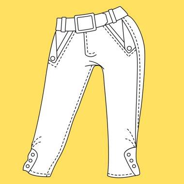 Jeans, trousers, pants. Fashion Illustration.