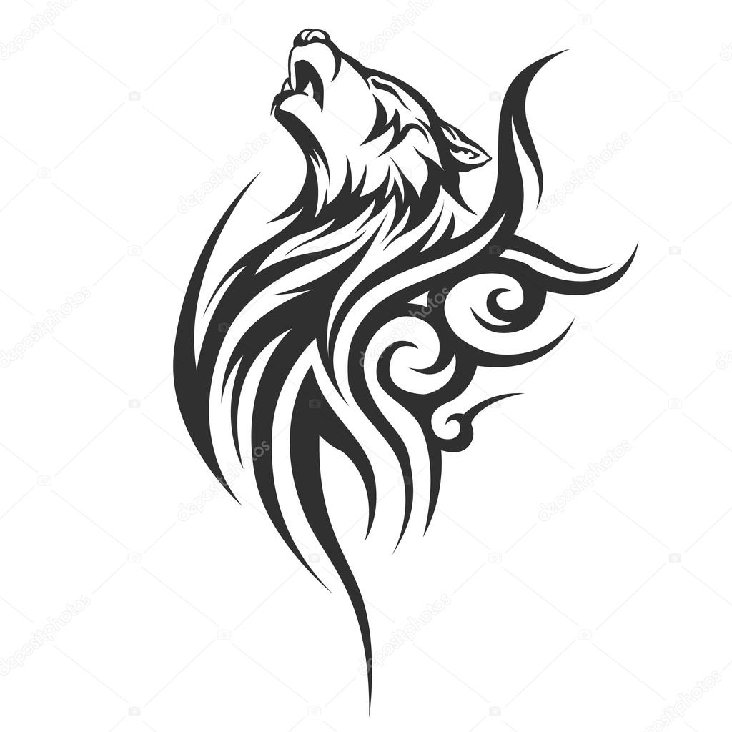 Disegni tribali del tatuaggio lupo vettoriali stock for Lupo disegno a matita