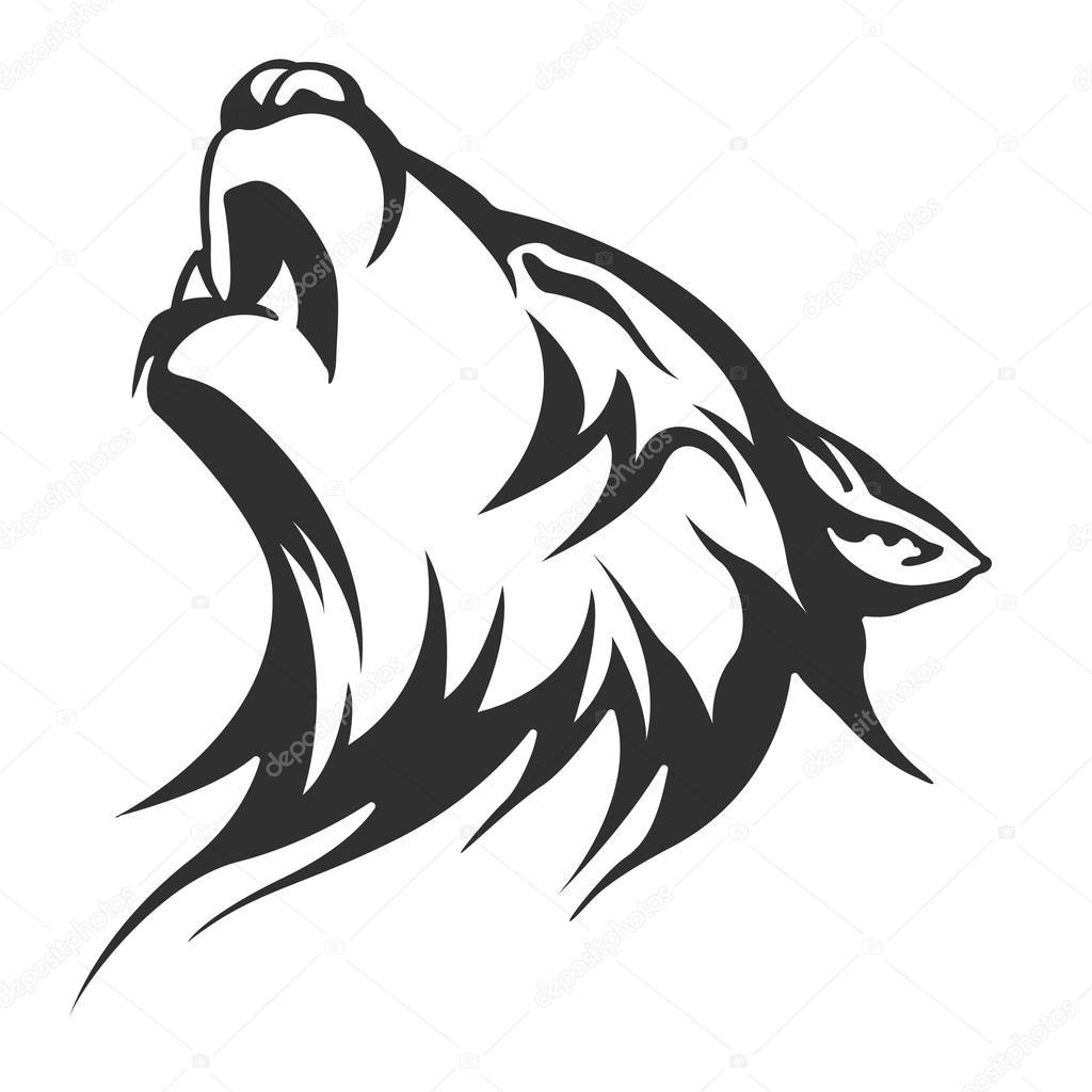 Stock Photo Wolf Tattoo Illustration on Snow 1 3 Inches