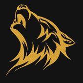 Photo Gold tribal tattoo wolf designs
