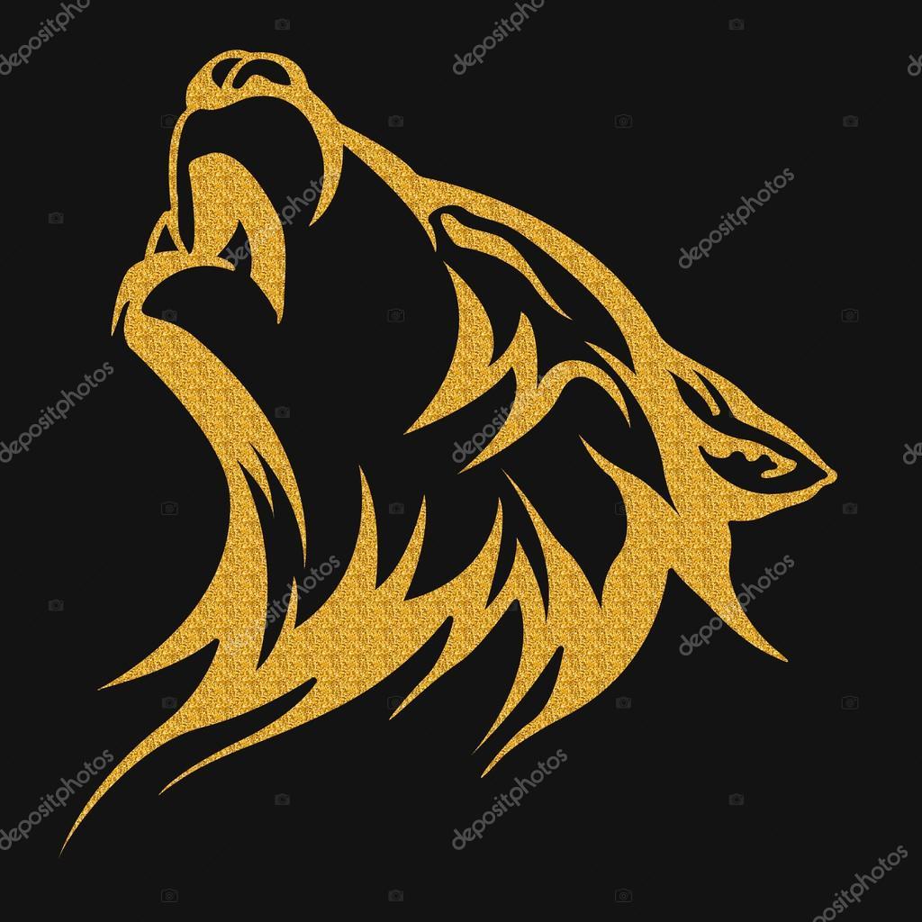 Złoto Tribal Tatuaż Wzory Wilk Zdjęcie Stockowe Klowreed