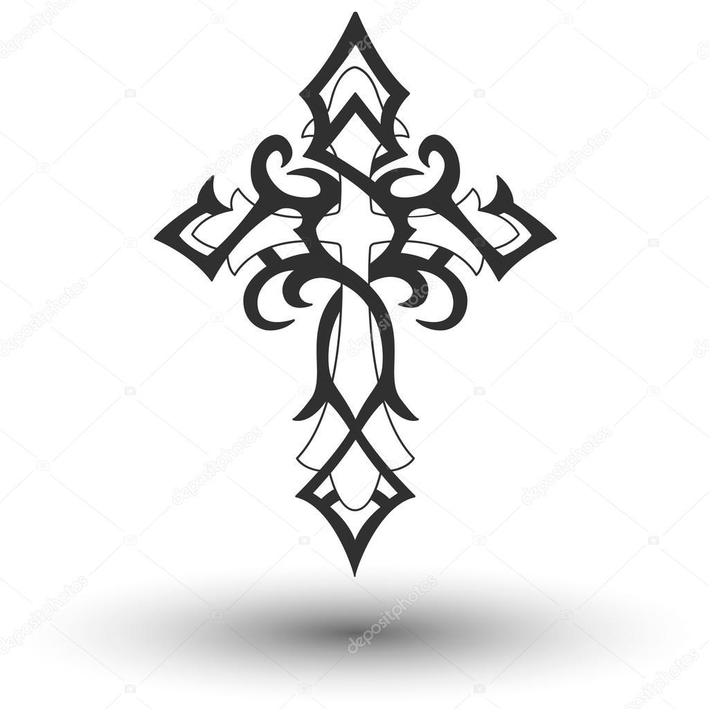Kruis Tribal Tattoo Mannen Tattoo Womens Tattoo Stockvector