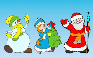 Snow maiden, Grandfather Frost, Snowman