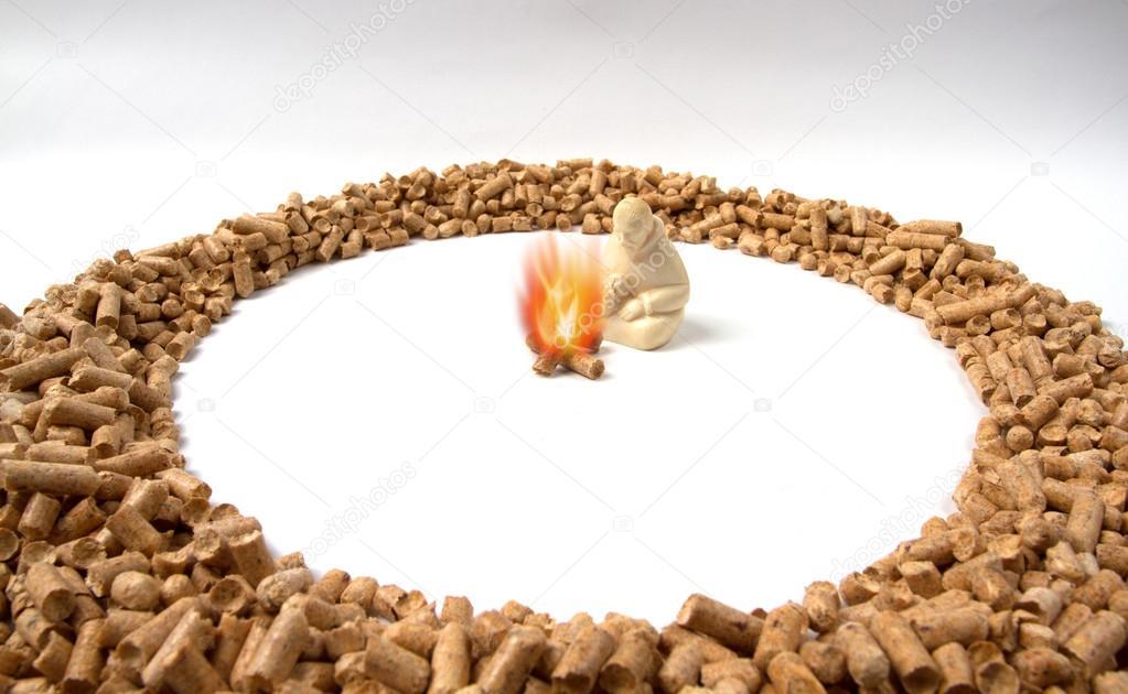 burning pellets warm human