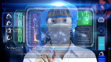 Doctor with futuristic hud screen tablet. Neurons, brain impulses. Medical concept of the future