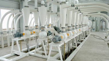 Electrical mill machinery for the production of wheat flour. Grain equipment. Grain. Agriculture. Industrial