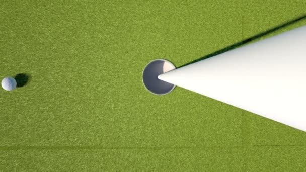 Golf. Animation der Golfball in ein Loch fallen