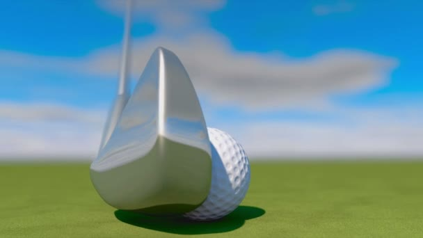 Golf. Animation of golf ball falling into a hole