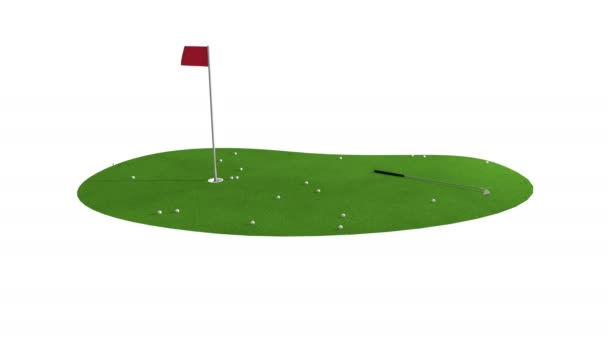 green golf course animation. golf concept. isolate video