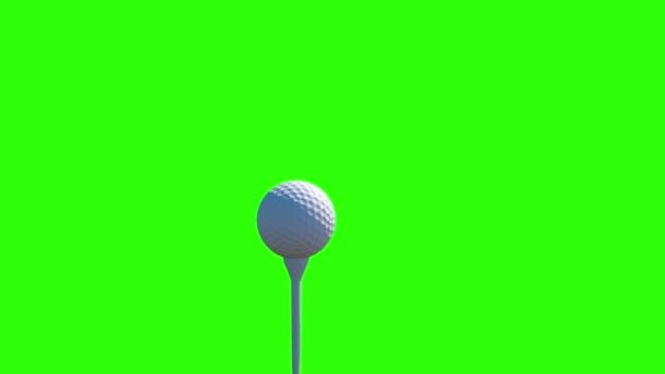 Zpomalený pohyb Golf úder. Golfové míče animace. Zelená obrazovka