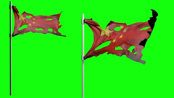 apocalyptic ragged flag of China. Realistyc 3d animation on wind. green screen