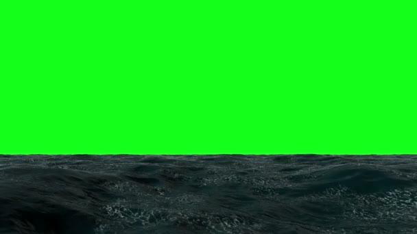 Ocean létat nad 3d animace těsně nad vlnami oceánu. zelená obrazovka