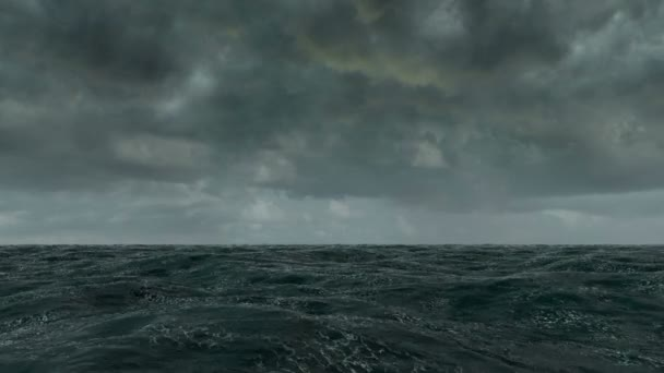 Ocean létat nad animace těsně nad vlnami oceánu na špatné počasí.