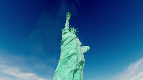 Statue of liberty. aerial shot. fly 3d animation. USA, America