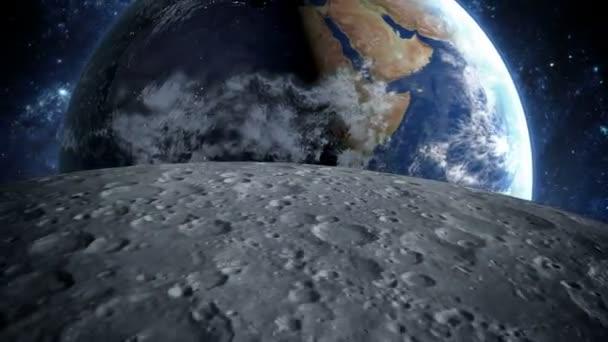 měsíc. Realistické animace. Zobrazení prostoru planety Země. zoom fly