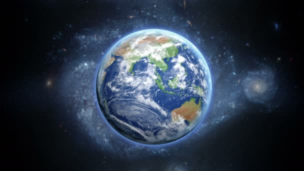 Planet Earth as seen from space. With stars background. realistic 3d animation