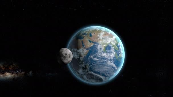 3D simulace rotace měsíce kolem země. Prostor zobrazit
