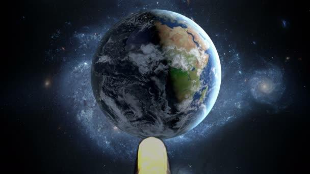 létající asteroidů, meteorit na zemi. ve vesmíru. Armagedon