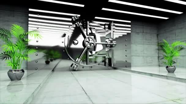 Bank-Tresor-Tür. Bank-Interieur. Business-Konzept. 3D animation ...