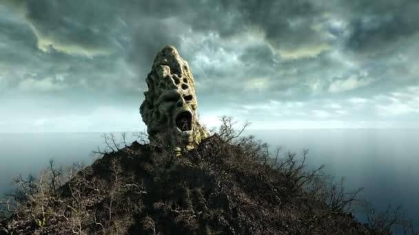 Horor ostrov v oceánu. ďábelský křičící lebka. Koncept Halloween. hejno netopýrů