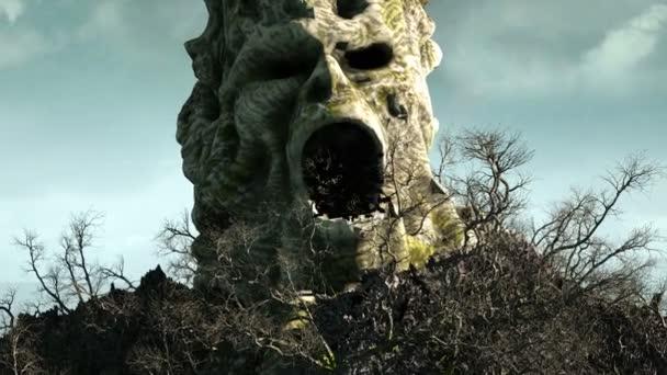 Isola di orrore nelloceano. diabolico di grido del cranio. Concetto di Halloween. stormo di pipistrelli