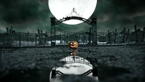 Halloween tök a kísérteties temetőben. HALLOWENN fogalom. reális animáció
