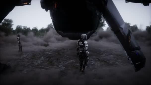 Futurisztikus sci-fi hajó szárnyra kapott. Katonai robot. Apokalipszis város. Realisztikus poranimáció.