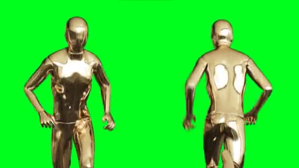 Golden man character animation. Isolate on green screen.