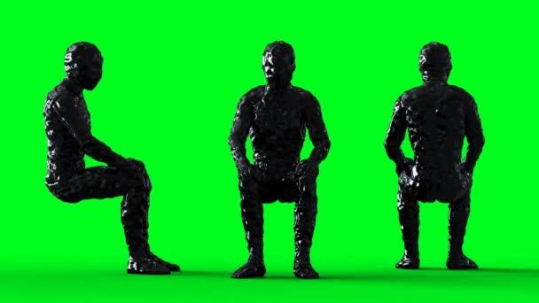 Petrolium, olajmágnás karakter animáció. Izolátum a zöld képernyőn.