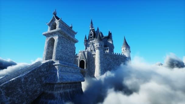 Pohádkový palác v oblacích. Letecký pohled. Létání v oblacích Realistická 4k animace