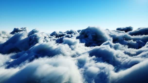 Letecký pohled v oblacích. Realistická animace 4k.