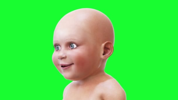 Funny speaking baby, children. Green screen realistic animation.